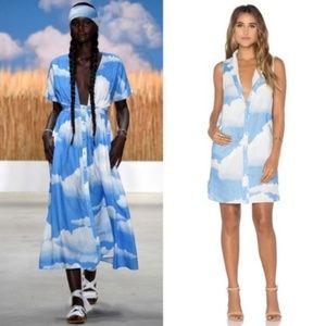 Mara Hoffman Shirt Dress Clouds Button Linen Mini